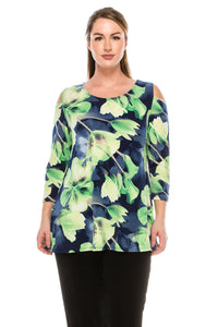 Jostar Women's HIT Vented Cold Shoulder Top Print 3/4 Sleeve, 337HT-QP-W050 - Jostar Online