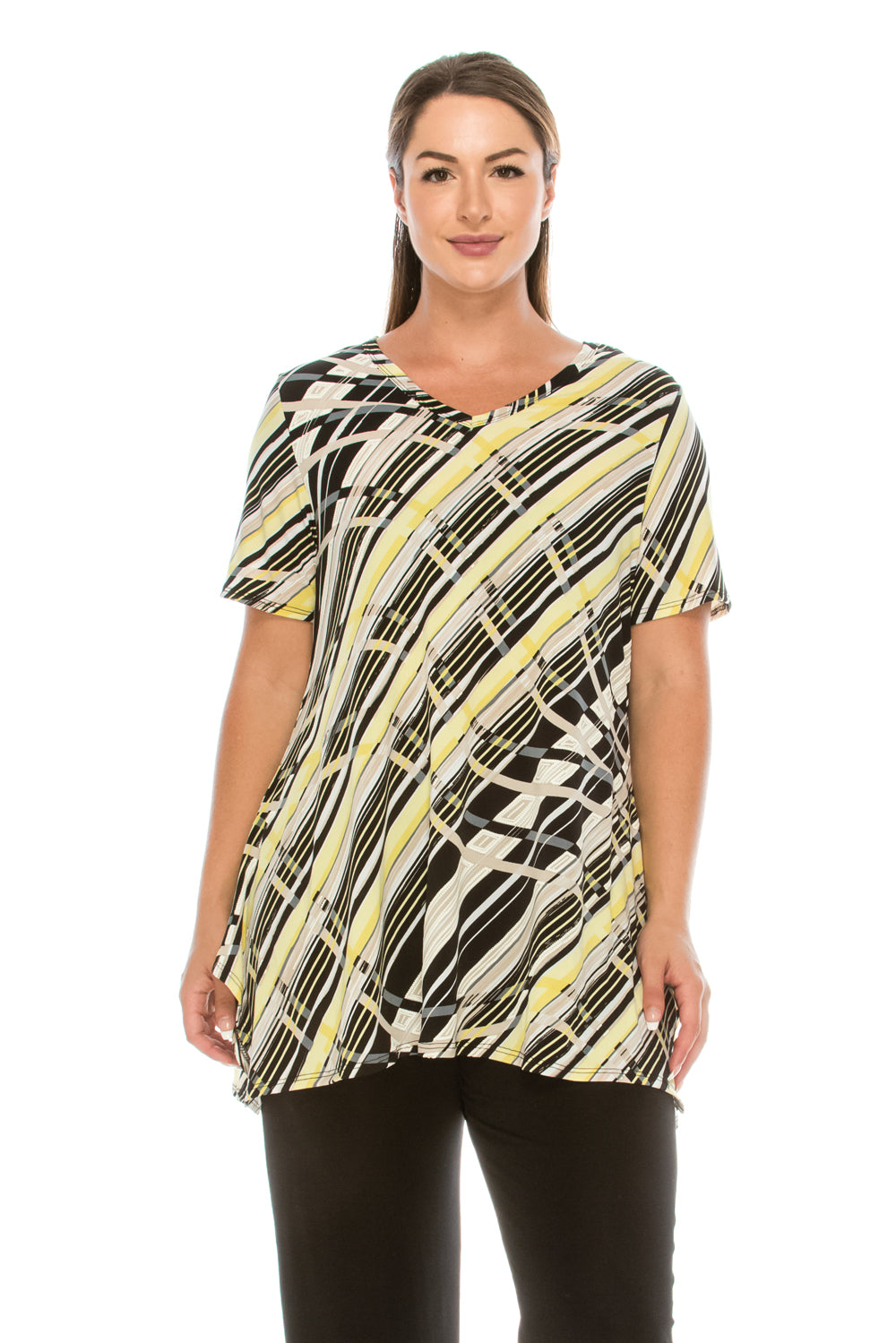 Jostar Women's HIT V-Neck Straight Bottom Top Short Sleeve Print, 343HT-SP-W127 - Jostar Online