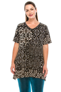 Jostar Women's HIT V-Neck Straight Bottom Top Short Sleeve Print, 343HT-SP-W155 - Jostar Online