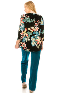 Jostar Women's Stretchy Rounded Bottom Tunic Top Quarter Sleeve Print Plus, 346BN-QXP-W189