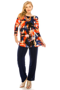 Jostar Women's Stretchy Rounded Bottom Tunic Top Quarter Sleeve Print, 346BN-QP-W082 - Jostar Online