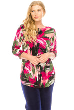 Load image into Gallery viewer, Jostar Women's Stretchy Rounded Bottom Tunic Top Quarter Sleeve Print, 346BN-QP-W082 - Jostar Online