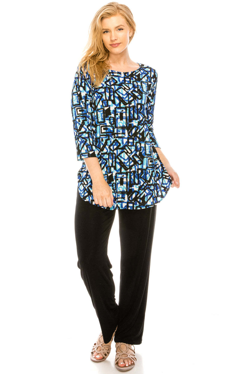 Jostar Women's Stretchy Rounded Bottom Tunic Top Quarter Sleeve Print, 346BN-QP-W196 - Jostar Online