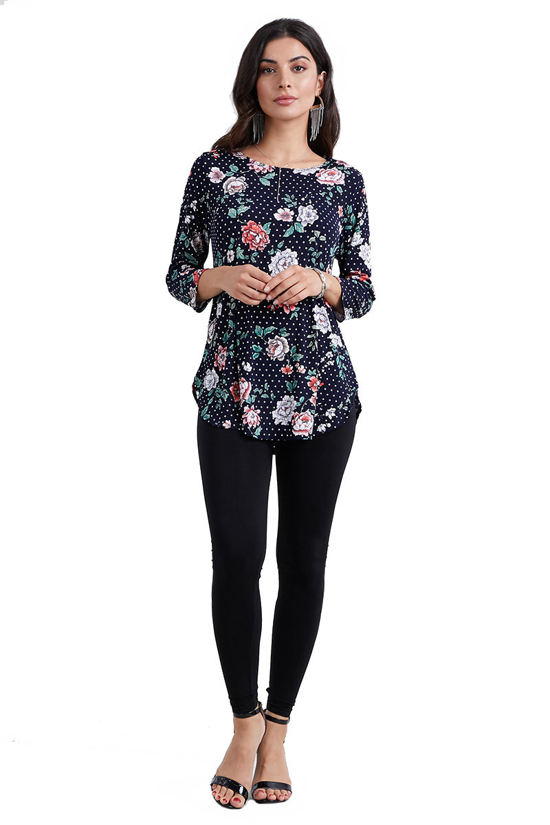Jostar Women's Stretchy Rounded Bottom Tunic Top Quarter Sleeve Print, 346BN-QP-W211 - Jostar Online