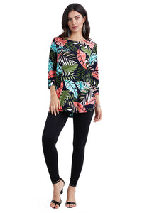 Jostar Women's Stretchy Rounded Bottom Tunic Top Quarter Sleeve Print, 346BN-QP-W212 - Jostar Online