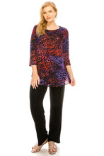 Load image into Gallery viewer, Jostar Women's Stretchy Rounded Bottom Tunic TopQuarter Sleeve Print Plus, 346BN-QXP-W001 - Jostar Online