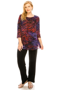 Jostar Women's Stretchy Rounded Bottom Tunic TopQuarter Sleeve Print Plus, 346BN-QXP-W001 - Jostar Online