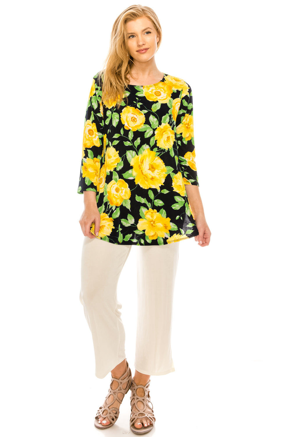 Jostar Women's Stretchy Rounded Bottom Tunic TopQuarter Sleeve Print Plus, 346BN-QXP-W020 - Jostar Online