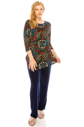 Jostar Women's Stretchy Rounded Bottom Tunic TopQuarter Sleeve Print Plus, 346BN-QXP-W070 - Jostar Online