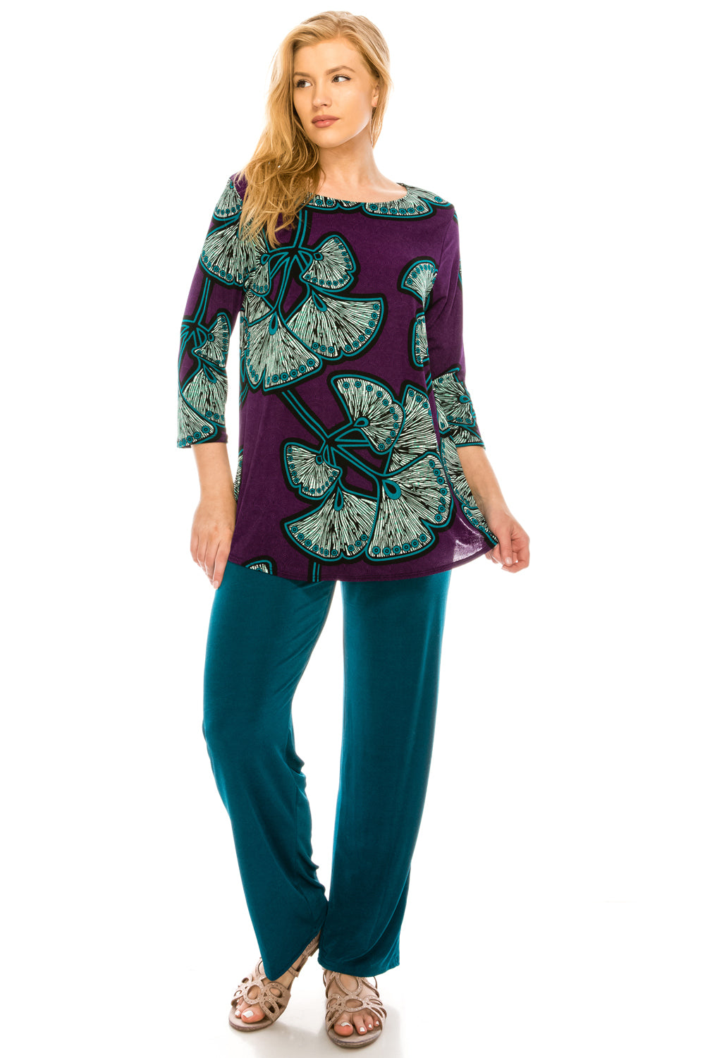 Jostar Women's Stretchy Rounded Bottom Tunic TopQuarter Sleeve Print Plus, 346BN-QXP-W076 - Jostar Online