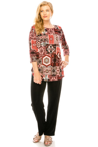 Jostar Women's Stretchy Rounded Bottom Tunic TopQuarter Sleeve Print Plus, 346BN-QXP-W166 - Jostar Online