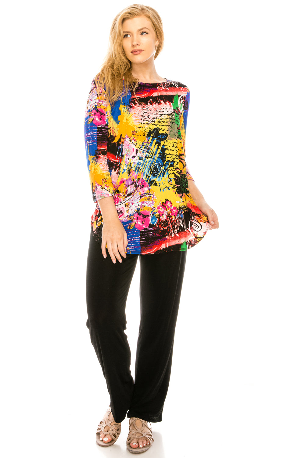 Jostar Women's Stretchy Rounded Bottom Tunic TopQuarter Sleeve Print Plus, 346BN-QXP-W169 - Jostar Online