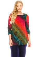 Load image into Gallery viewer, Jostar Women's Stretchy Rounded Bottom Tunic TopQuarter Sleeve Print Plus, 346BN-QXP-W182 - Jostar Online