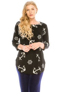 Jostar Women's Stretchy Rounded Bottom Tunic TopQuarter Sleeve Print Plus, 346BN-QXP-W981 - Jostar Online