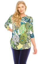 Load image into Gallery viewer, Jostar Women's HIT Rounded Bottom Tunic TopQuarter Sleeve Print Plus, 346HT-QXP-W199
