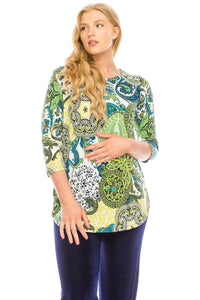 Jostar Women's HIT Rounded Bottom Tunic Top Quarter Sleeve Print, 346HT-QP-W199 - Jostar Online