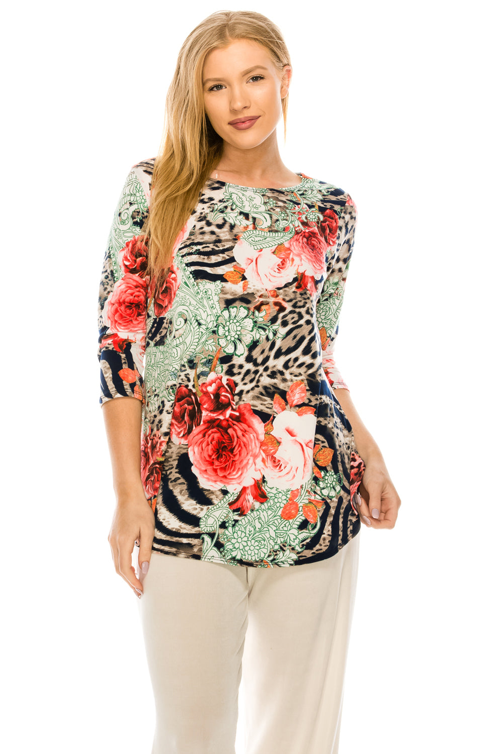 Jostar Women's HIT Rounded Bottom Tunic Top Quarter Sleeve Print, 346HT-QP-W209 - Jostar Online
