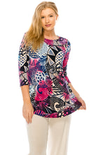 Load image into Gallery viewer, Jostar Women's HIT Rounded Bottom Tunic TopQuarter Sleeve Print Plus, 346HT-QXP-W204 - Jostar Online