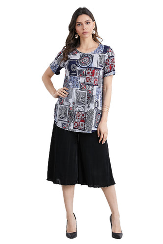 Jostar Women's HIT Rounded Bottom Tunic Top Short Sleeve Print, 346HT-SP-W192 - Jostar Online