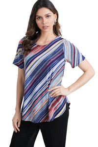 Jostar Women's HIT Rounded Bottom Tunic Top Short Sleeve Print, 346HT-SP-W205 - Jostar Online