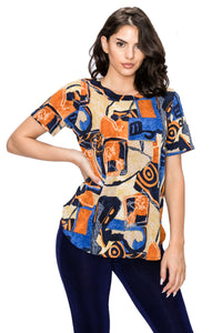 Jostar Women's HIT Rounded Bottom Tunic Top Short Sleeve Print, 346HT-SP-W217 - Jostar Online