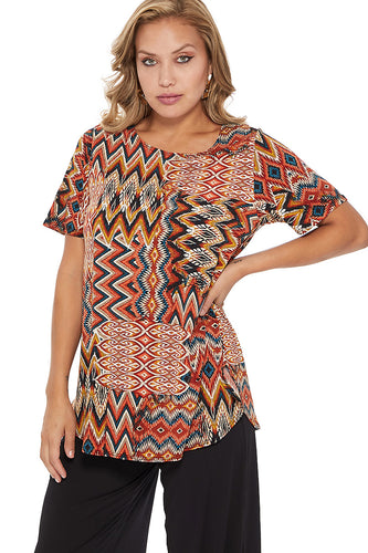 Jostar Women's HIT Rounded Bottom Tunic Top Short Sleeve Print, 346HT-SP-W229 - Jostar Online
