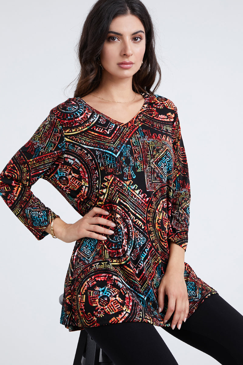 ostar Women's Stretchy V-Nk Binding Tunic Top Quarter Sleeve Print-347BN-QXP1-W014
