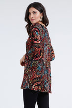 Load image into Gallery viewer, ostar Women's Stretchy V-Nk Binding Tunic Top Quarter Sleeve Print-347BN-QXP1-W014