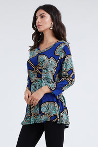 Jostar Women's Stretchy V-Nk Binding Tunic Top Quarter Sleeve Print-347BN-QXP1-W076