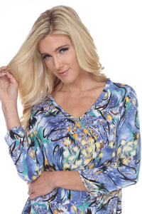Jostar Women's Hit V-Neck Binding Tunic Top Quarter Sleeve Print, 347HT-QP-W084 - Jostar Online