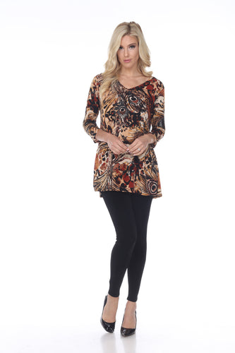 Jostar Women's Hit V-Neck Binding Tunic Top Quarter Sleeve Print, 347HT-QP-W236 - Jostar Online