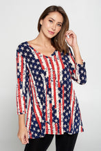 Load image into Gallery viewer, Jostar Women's Hit V-Neck Binding Tunic Top Quarter Sleeve Print-347HT-QRP1-W297
