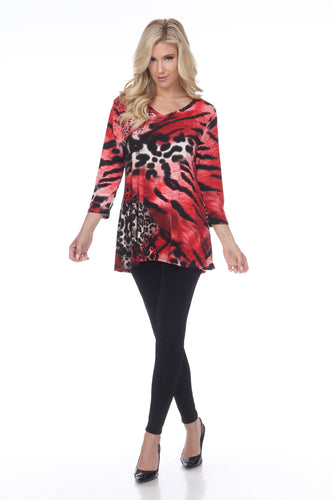 Jostar Women's HIT V-Neck Binding Tunic Top Quarter Sleeve Print, 347HT-QP-W857 - Jostar Online