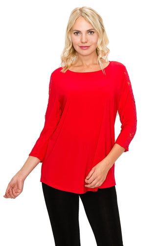 Jostar Women's HIT Lace Contrast Slv Top Quarter Sleeves, 348HT-QC - Jostar Online