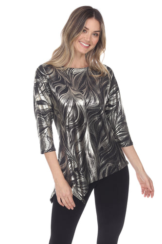 Jostar Women's HIT Asymmetric Drop Top Quarter Sleeve Print, 349HT-QP-F018 - Jostar Online
