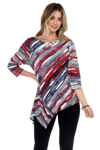 Jostar Women's HIT Asymmetric Drop Top Quarter Sleeve Print, 349HT-QP-W244 - Jostar Online
