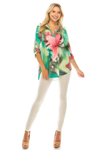 Hit Notch Neck Rolled Sleeve Top-359HT-QP-W281 - Jostar Online