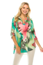 Load image into Gallery viewer, Hit Notch Neck Rolled Sleeve Top-359HT-QP-W281 - Jostar Online