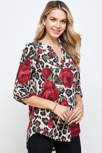 HIT Notch Neck Rolled Sleeve Top-359HT-QP-W291