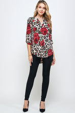 Load image into Gallery viewer, HIT Notch Neck Rolled Sleeve Top-359HT-QP-W291