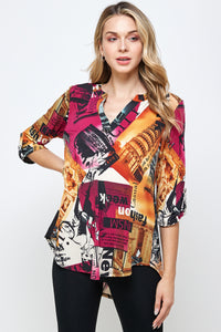 HIT Notch Neck Rolled Sleeve Top-359HT-QP-W292