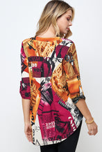 Load image into Gallery viewer, HIT Notch Neck Rolled Sleeve Top-359HT-QP-W292