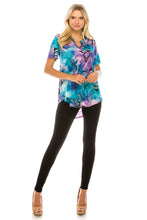 Load image into Gallery viewer, HIT Notch Neck Rolled Sleeve Top-359HT-QP-W282