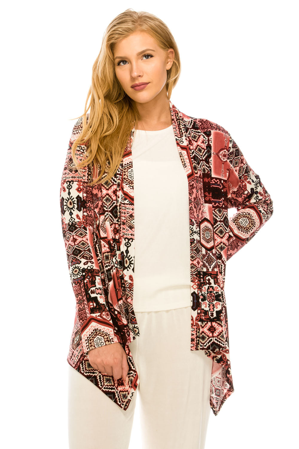 Jostar Women's Stretchy Print Mid Cut Jacket Long Sleeve Print Plus,428BN-LXP-W166,Made in USA.Everyday wrinkle resistant, travel friendly. Comfortable and trendy.