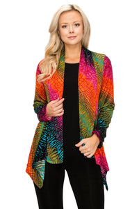 Jostar Women's Stretchy Print Mid Cut Jacket Long Sleeve Print Plus, 428BN-LXP-W981