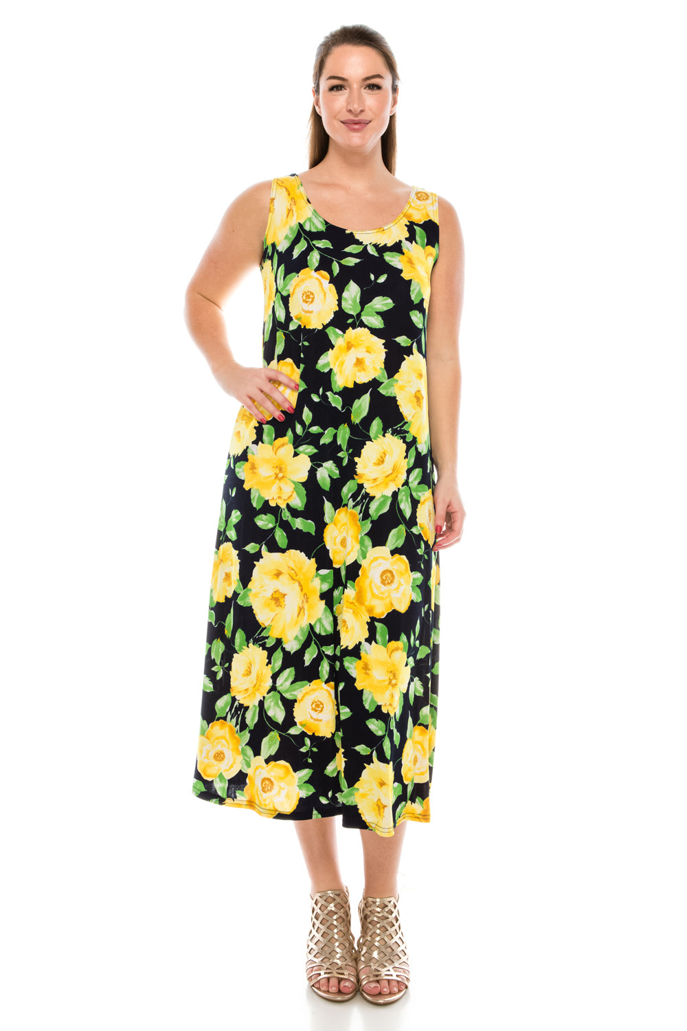 Jostar Women's Stretchy Long Tank Dress Print, 700BN-TP-W020 - Jostar Online