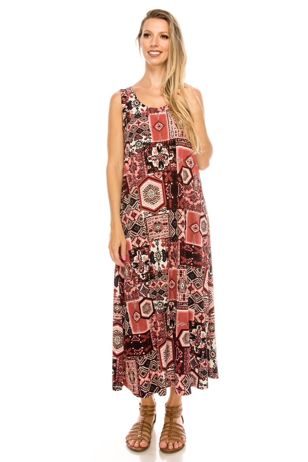 Jostar Women's Stretchy Long Tank Dress Print, 700BN-TP-W166 - Jostar Online