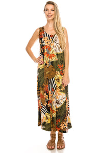 Jostar Women's Stretchy Long Tank Dress Print, 700BN-TP-W168 - Jostar Online
