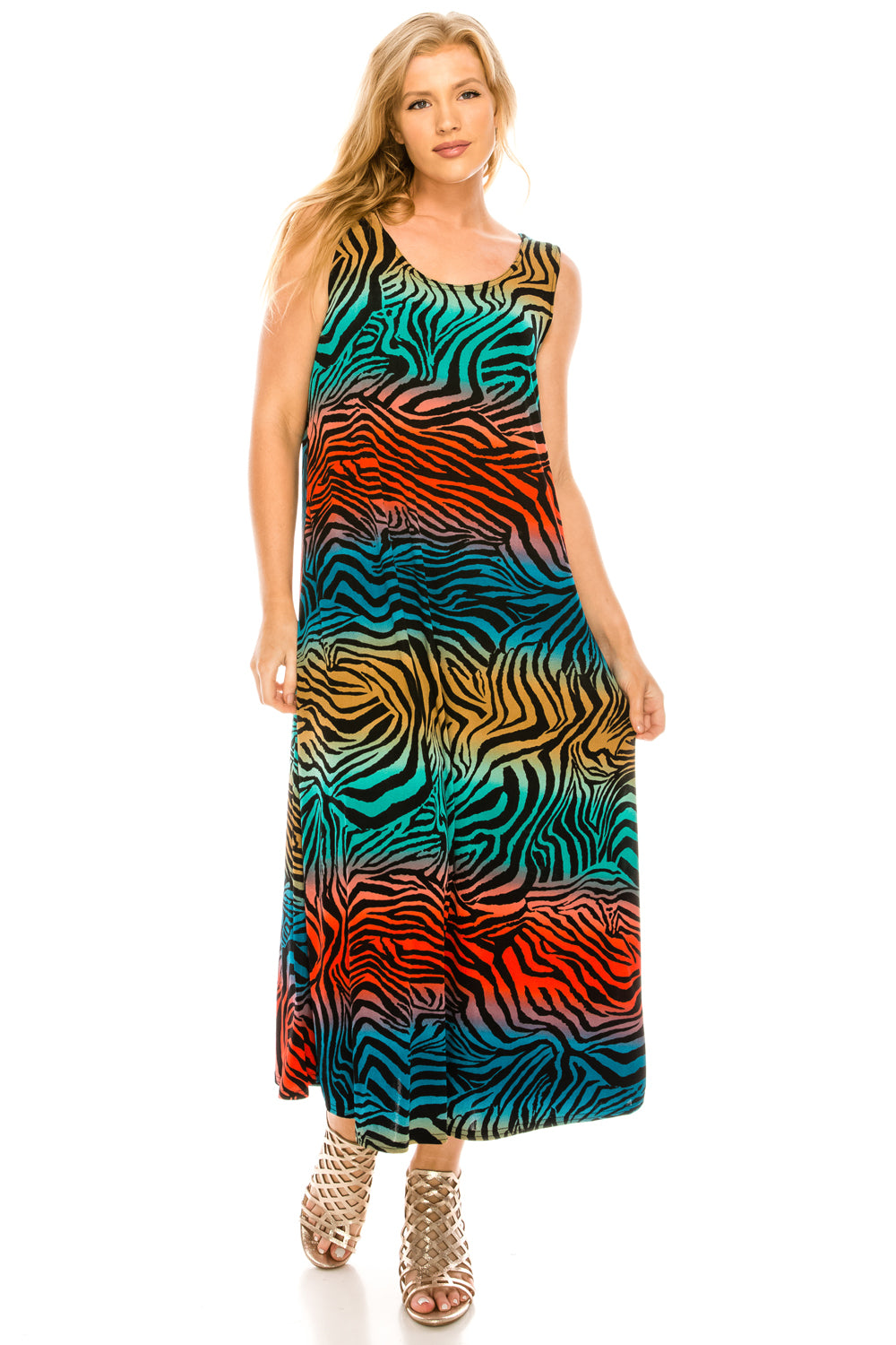 Jostar Women's Stretchy Tank Long Dress Sleeveless Plus Print, 700BN-TXP-W171 - Jostar Online