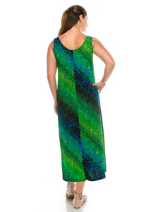 Jostar Women's Stretchy Tank Long Dress Sleeveless Plus Print, 700BN-TXP-W182